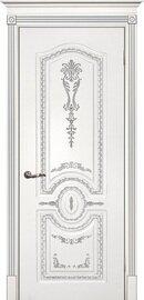 Дверь Смальта 11, Белый ral 9003  патина серебро, Эмаль, глухое