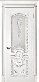 Дверь Смальта 11, Белый ral 9003  патина серебро, Эмаль, со стеклом сатинат, шелкотрафаретная печать серебро