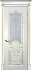 Дверь Смальта 11, Слоновая кость ral 1013 патина золото, Эмаль, со стеклом Сатинат, шелкотрафаретная печать