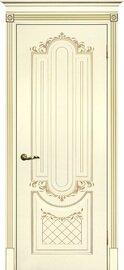 Дверь Смальта 13, Слоновая кость ral 1013 патина золото, Эмаль, глухое