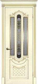 Дверь Смальта 13, Слоновая кость ral 1013 патина золото, Эмаль, со стеклом Шелкотрафаретная печать