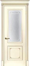 Дверь Смальта 14, Слоновая кость ral 1013 патина шампань, Эмаль, со стеклом Шелкотрафаретная печать