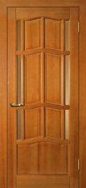 Дверь Ампир ДБО, Тонированная сосна, Массив, со стеклом Бронза рифленное