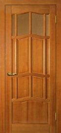 Дверь Ампир ДВО, Тонированная сосна, Массив, со стеклом Бронза рифленное