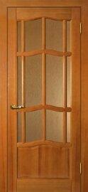 Дверь Ампир ДО, Тонированная сосна, Массив, со стеклом Бронза рифленное