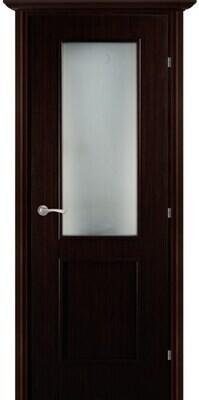 Дверь 05.51 (ш), Венге тонированный, Шпон, со стеклом белый сатинат, левая