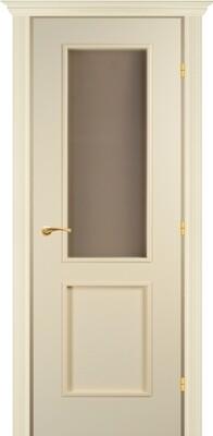Дверь 05.51 (э), Слоновая кость, Эмаль, со стеклом белый сатинат, правая