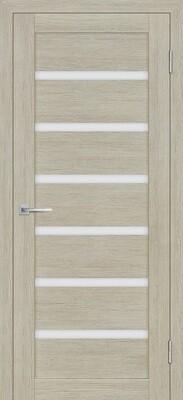 Дверь ST-607, Капучино, 3D покрытие, со стеклом белый сатинат