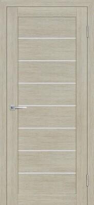 Дверь ST-608, Капучино, 3D покрытие, со стеклом белый сатинат