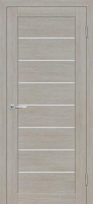 Дверь ST-608, Светло серый, 3D покрытие, со стеклом белый сатинат