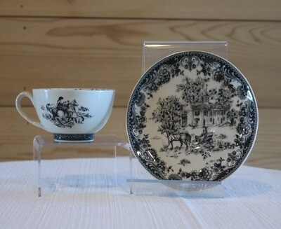 Equestrian Teacup and Saucer