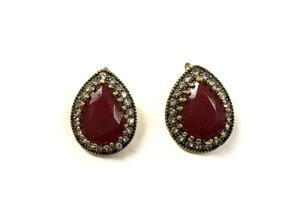 Red Stone and Rhinestone Earrings