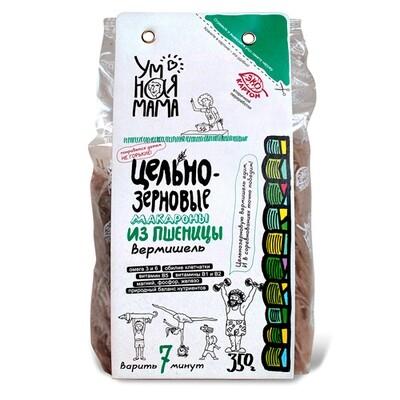 UMNA Макароны цельнозерновые из пшеницы Вермишель, 350гр, Всем на пользу