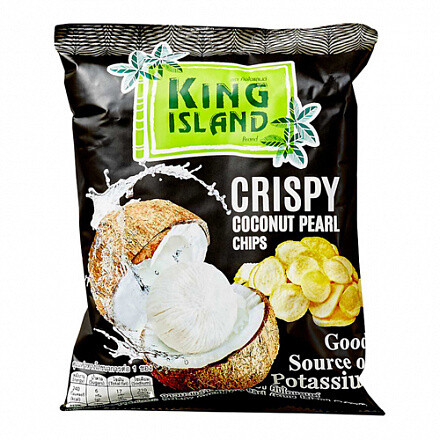 Кокосовые чипсы из сердцевины пророщенного кокоса KING ISLAND COCONUT PEARL, 40г