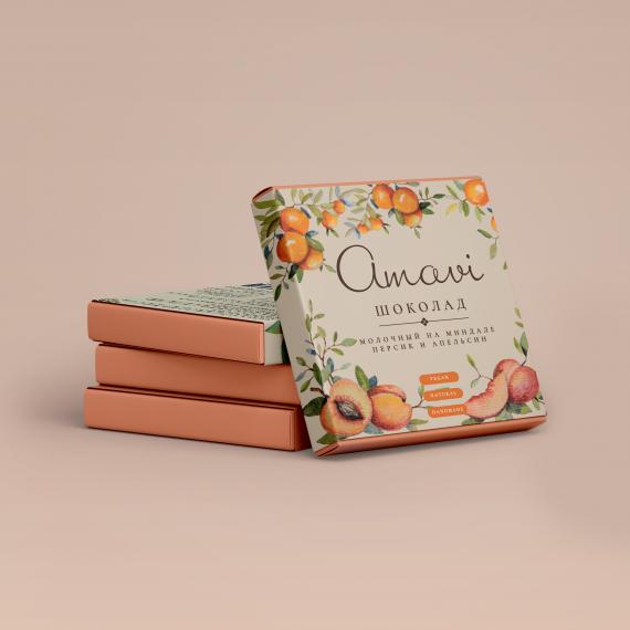 """Шоколад """"Молочный на миндале Персик и Апельсин"""""""