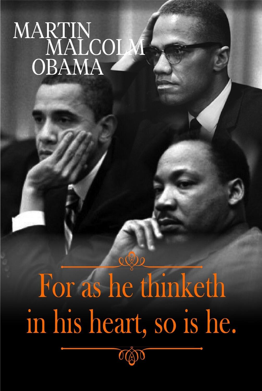 Martin, Obama & Malcolm Postcard