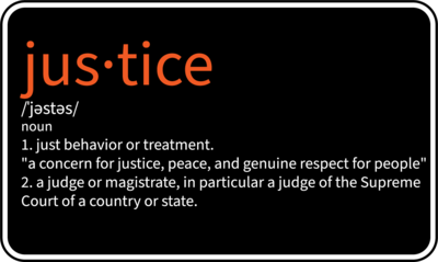 """Justice - 4"""" x 2.48"""" Die cut Sticker"""