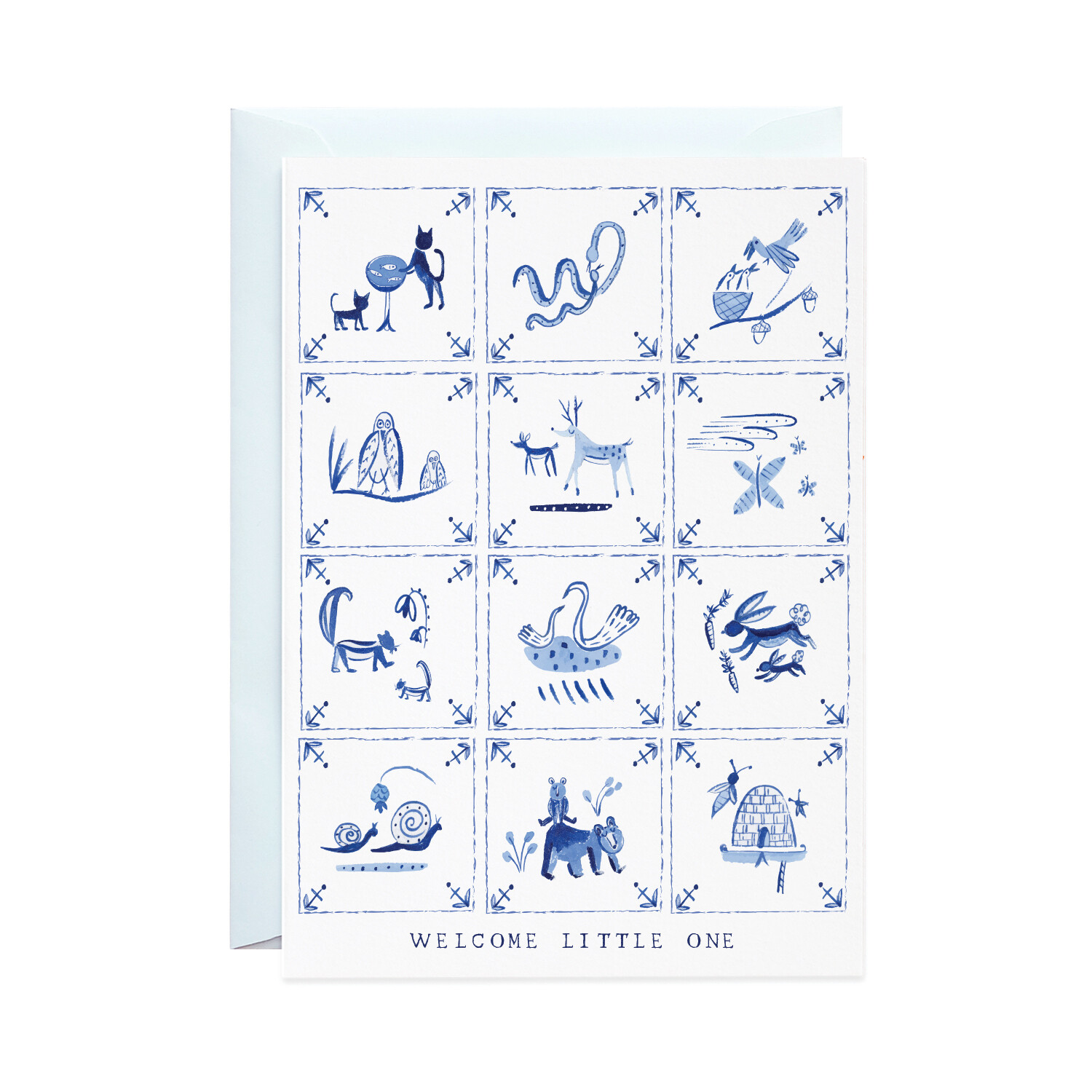 Greeting Card - New Baby Delft Tiles