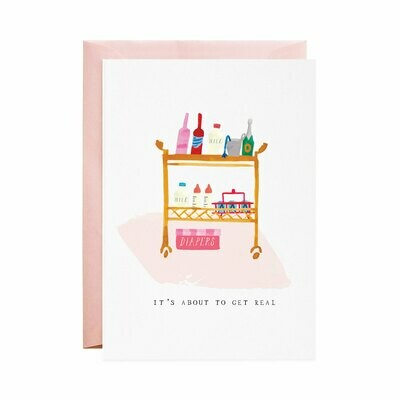 Greeting Card - Diapers on the Bar Cart