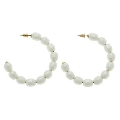 Ivory Freshwater Pearl Beaded Hoop Earring