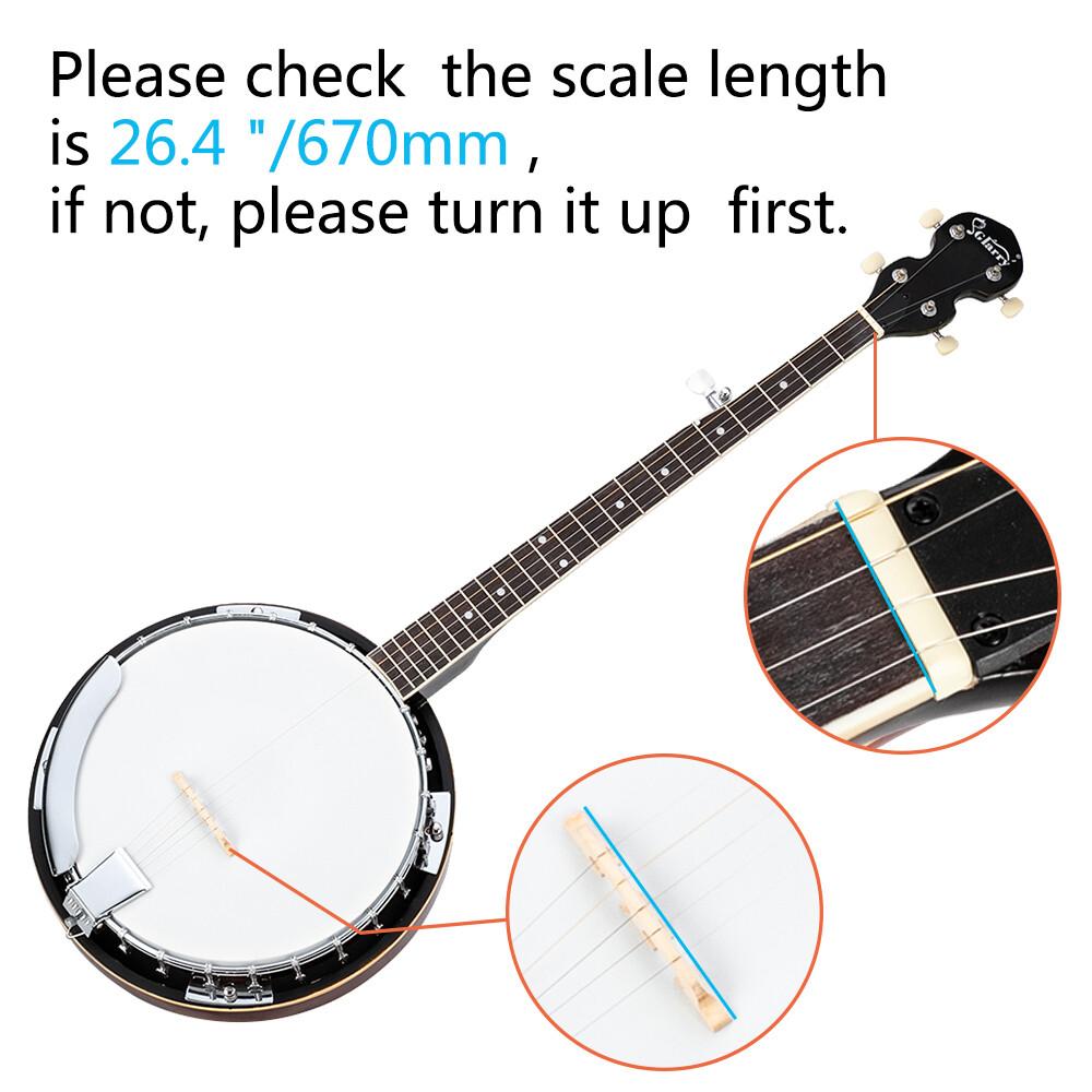 Glarry 5-String Resonator Banjo Reentrant Tuning Banjo ...