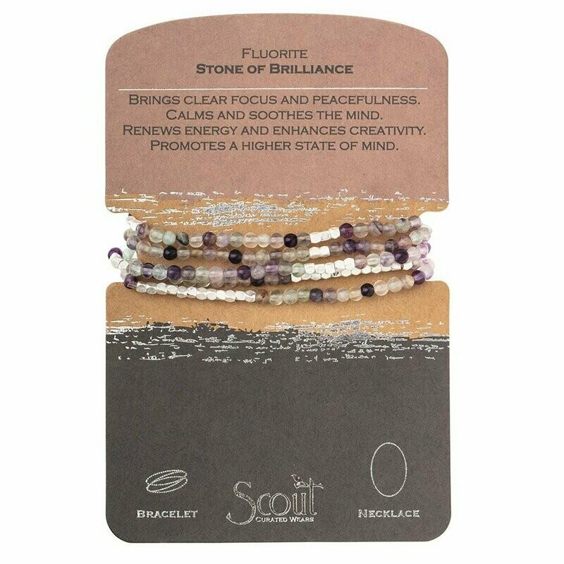 Stone Wrap Bracelet/Necklace - Fluorite - Stone of Brilliance