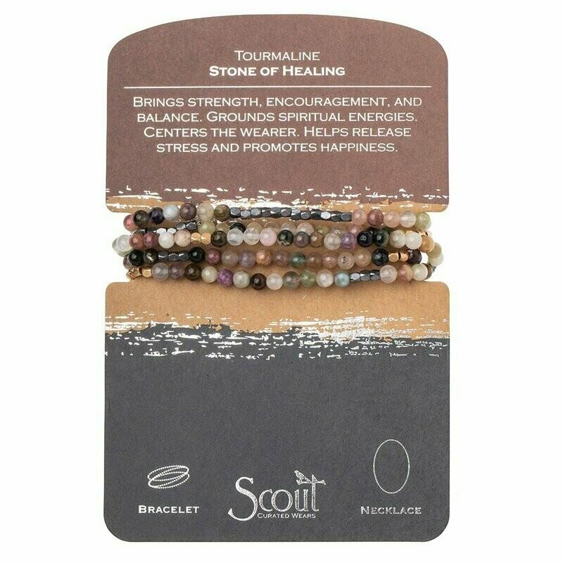 Stone Wrap Bracelet/Necklace - Tourmaline - Stone of Healing