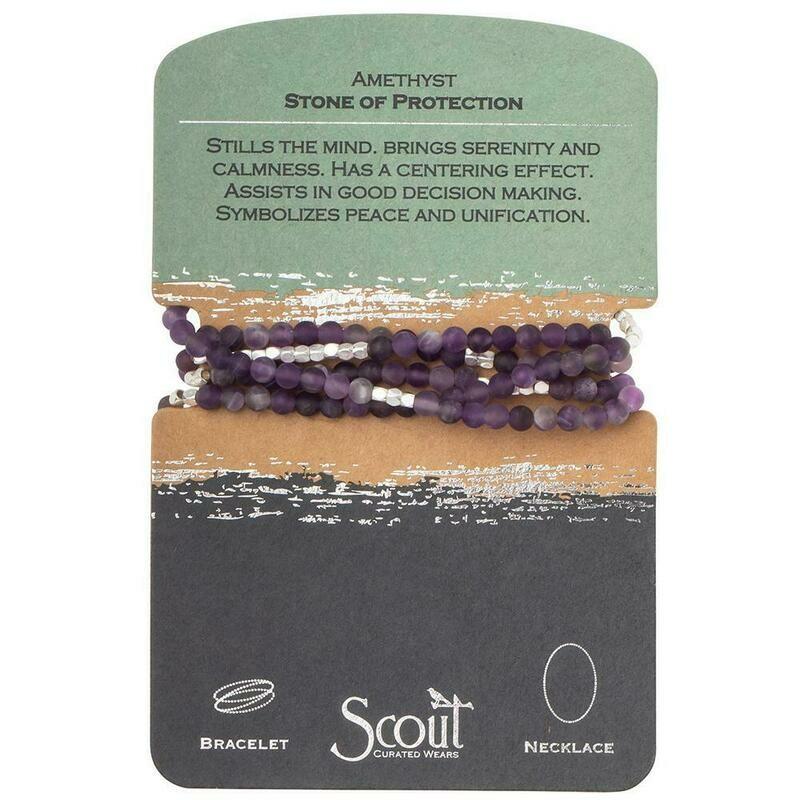Stone Wrap Bracelet/Necklace - Amethyst - Stone of Protection