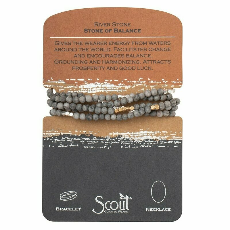 Stone Wrap Bracelet/Necklace - River Stone - Stone of Balance