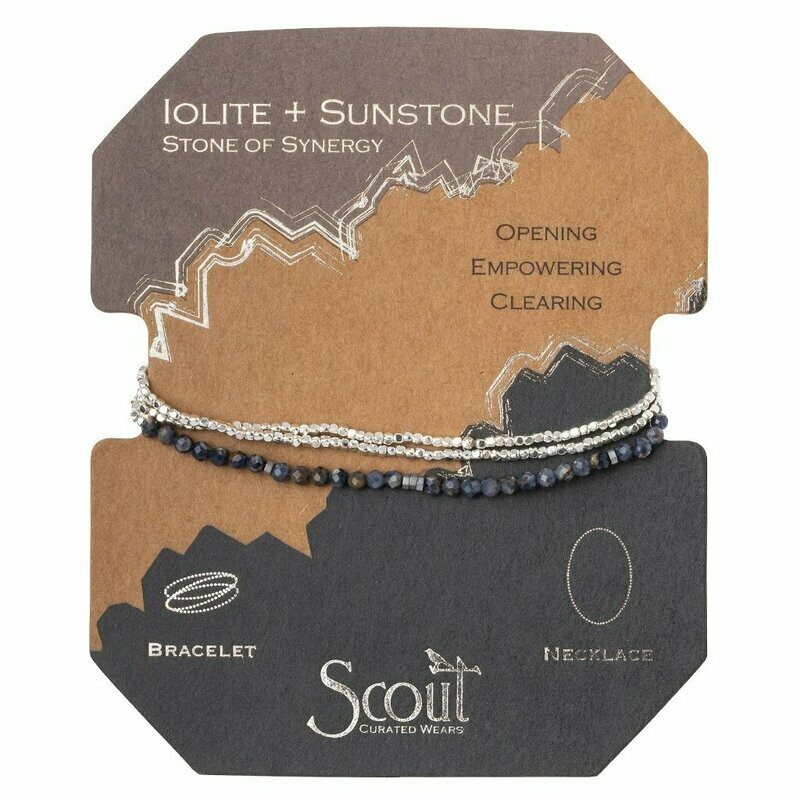 Delicate Stone Bracelet/Necklace - Iolite & Sunstone - Stone of Synergy