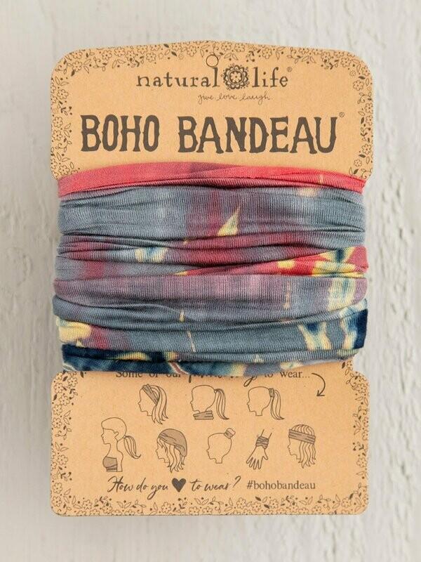 Grey & Coral Tie-Dye Boho Bandeau
