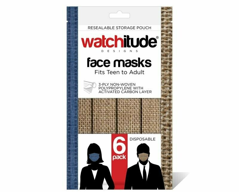 6 pk, Adult Mask - Burlap/Blue