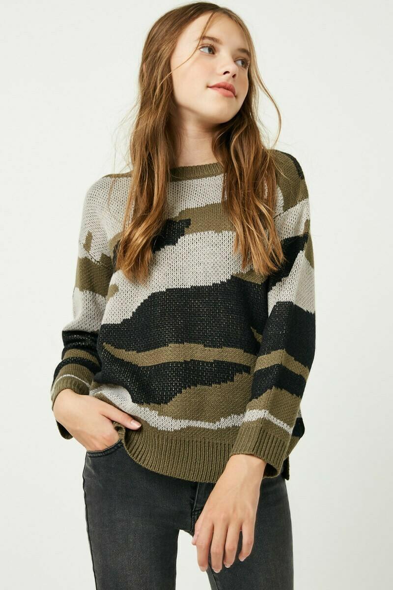 Girls Camo Knit Sweater