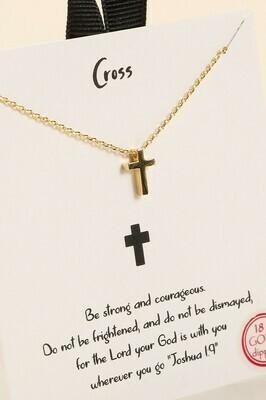 Mini Cross Charm Necklace, Gold