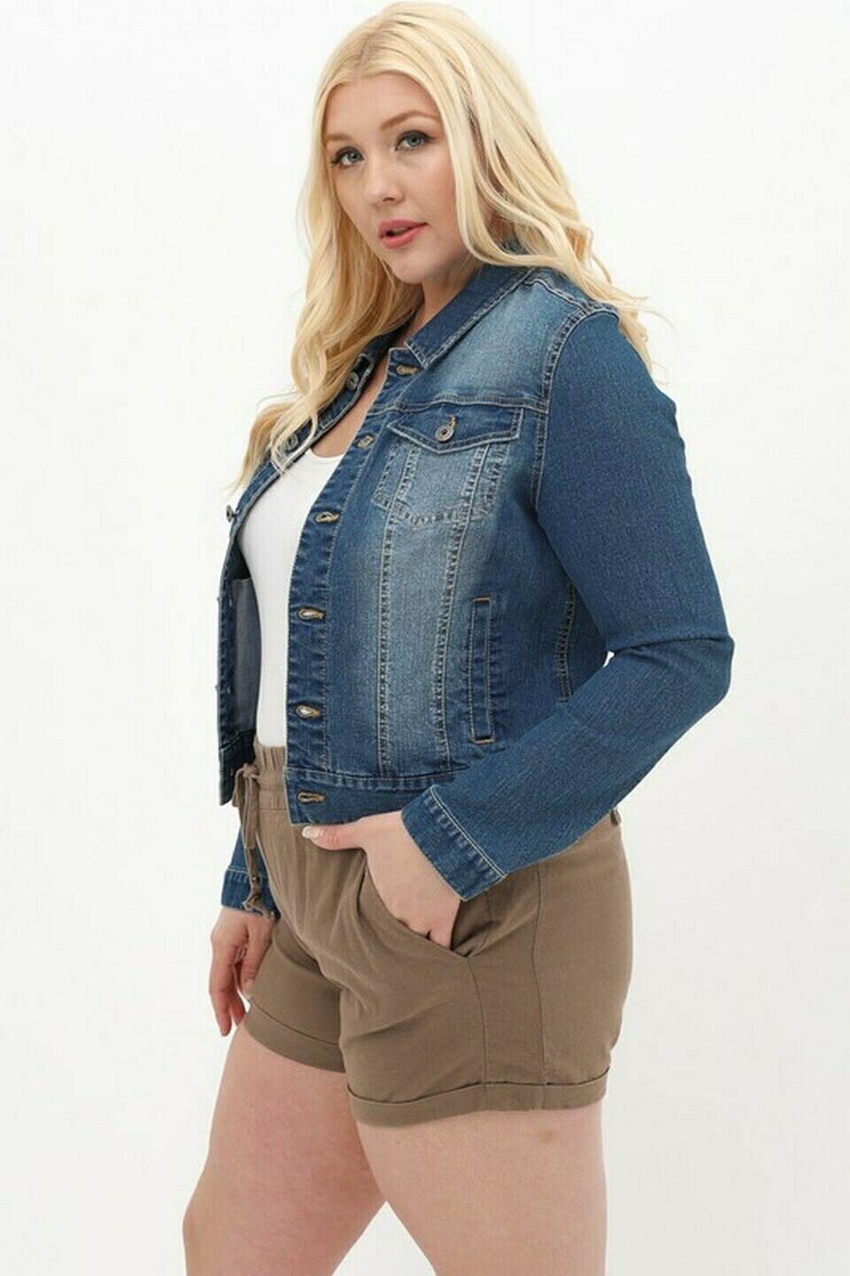 Curvy Blue Denim Jacket
