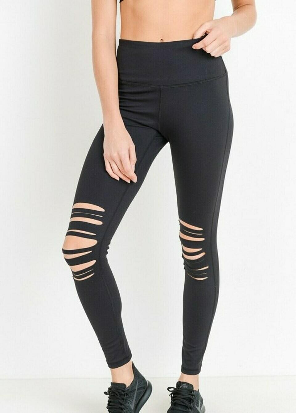 Distressed Black Legging