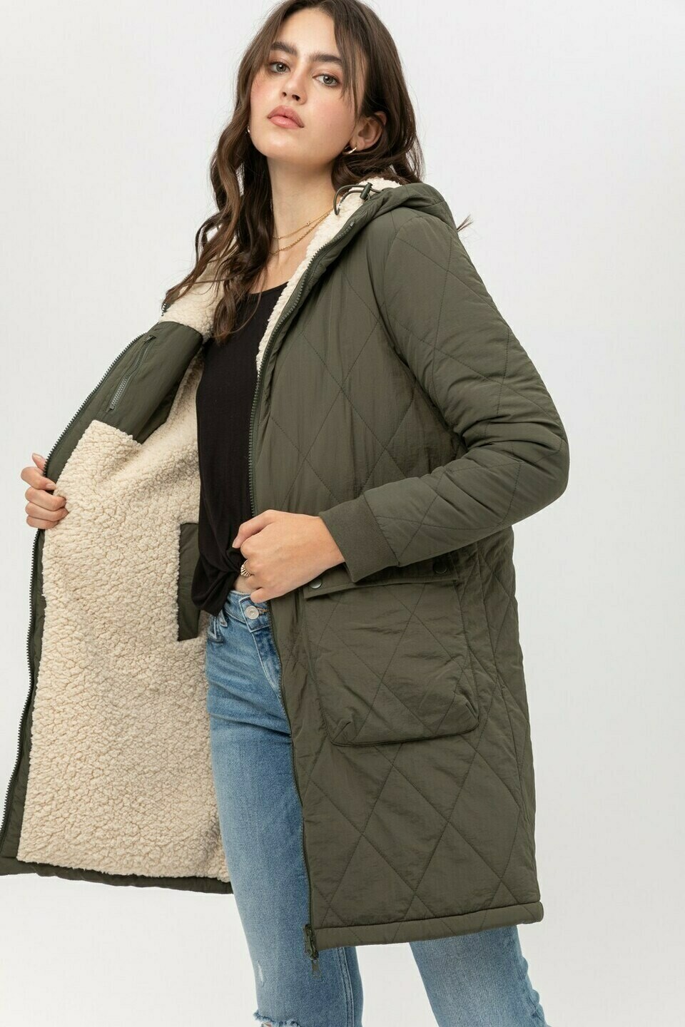 Reversible Olive/Nat Coat