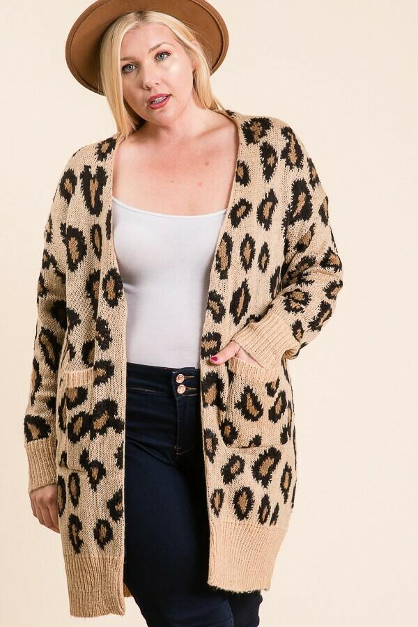 Curvy Leopard Pocket Cardi