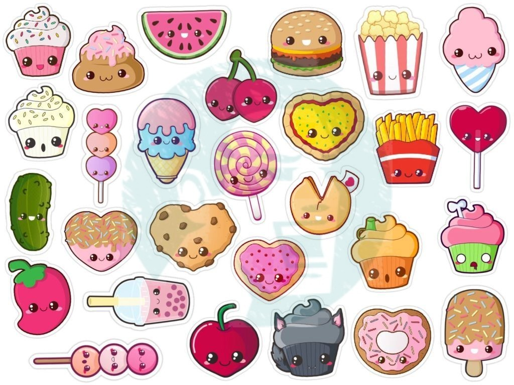 set #176p food stickers. printable tumblr stickers. printable decals