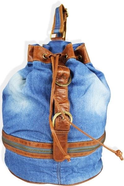Denim Drawstring Handbag 000067