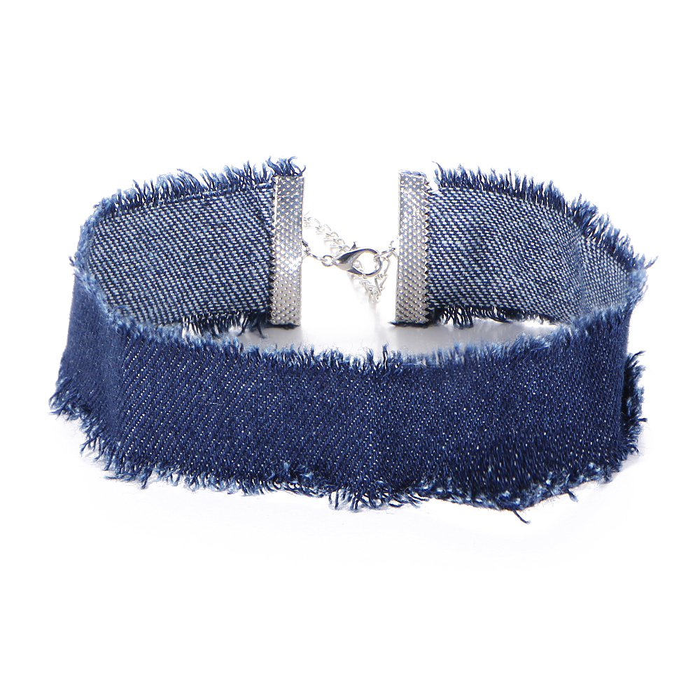 Frayed Denim Choker 000087