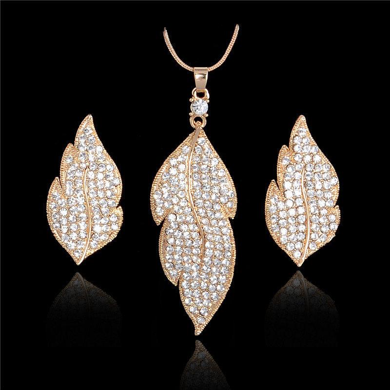 Austrian Crystal Leaf Set 001033