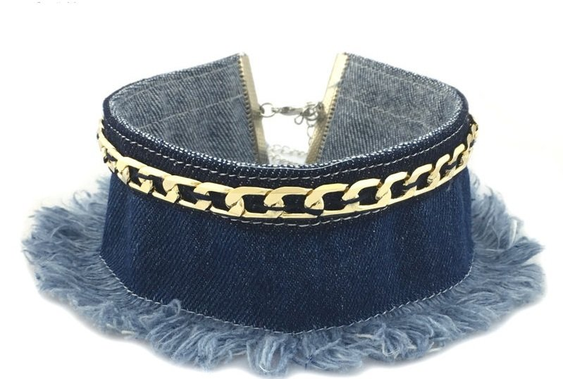 Frayed Denim Chocker 999111