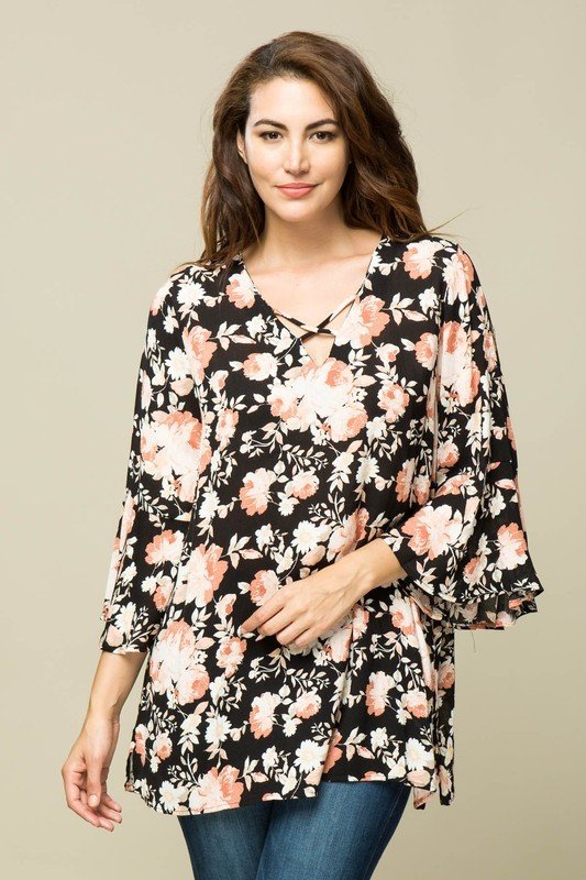 Black Floral Tunic Top 010028