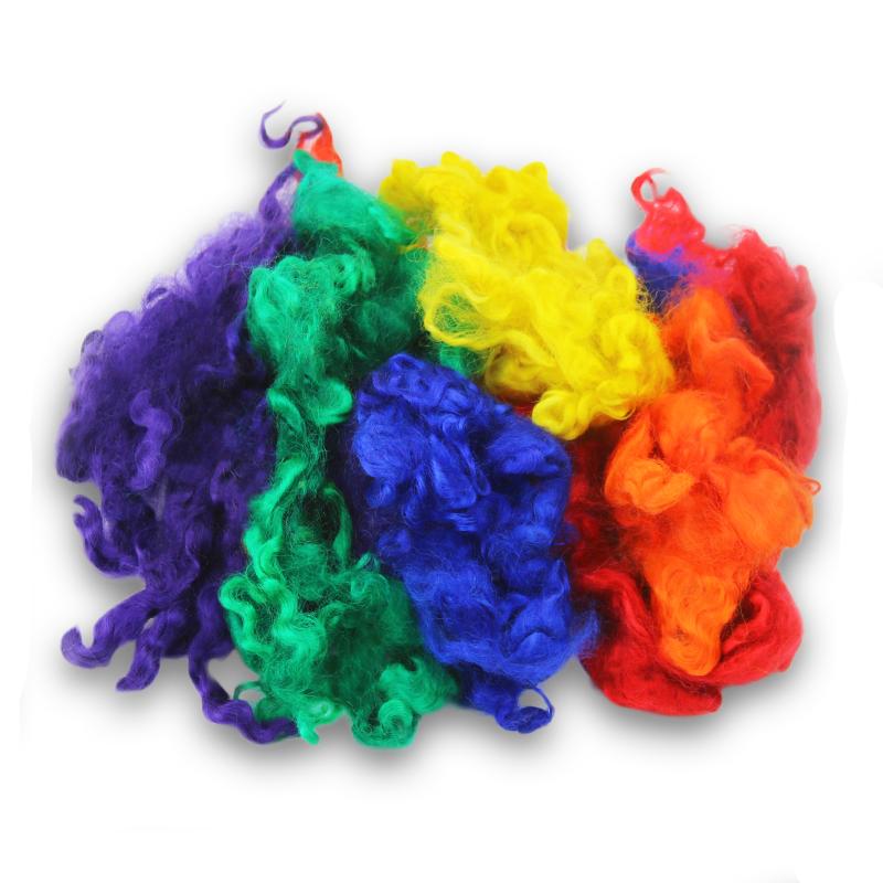 Rainbow Dyed Leicester Wool Locks -- 50 grams