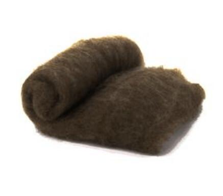 Merino Wool  -- Carded Batt --  Brown