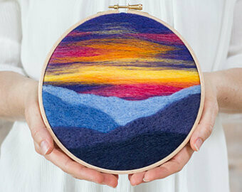 Mountain Sunset Hoop Needle Felting Kit