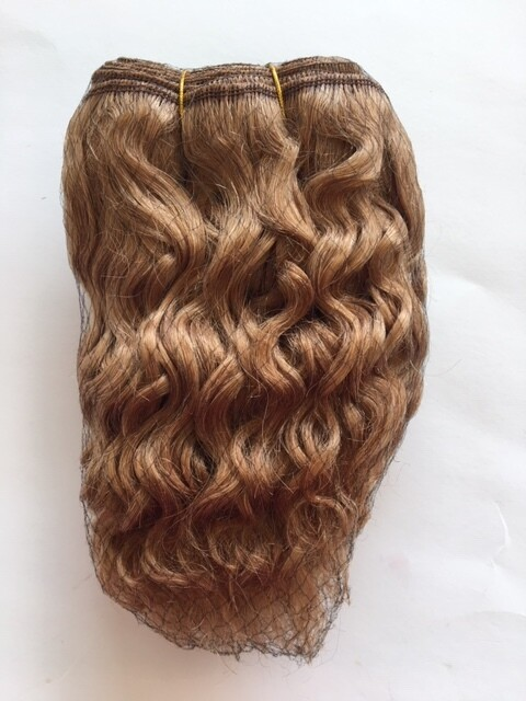 Mohair Doll Hair Weft -- Honey Brown Curly