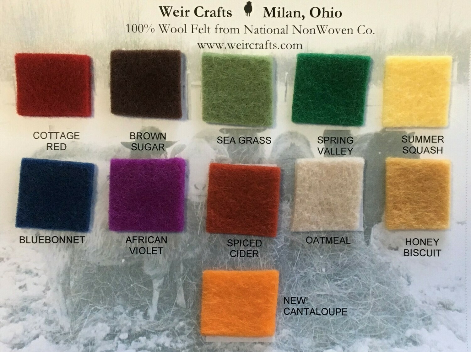 National Nonwoven 100% Wool Felt Color Swatch Card