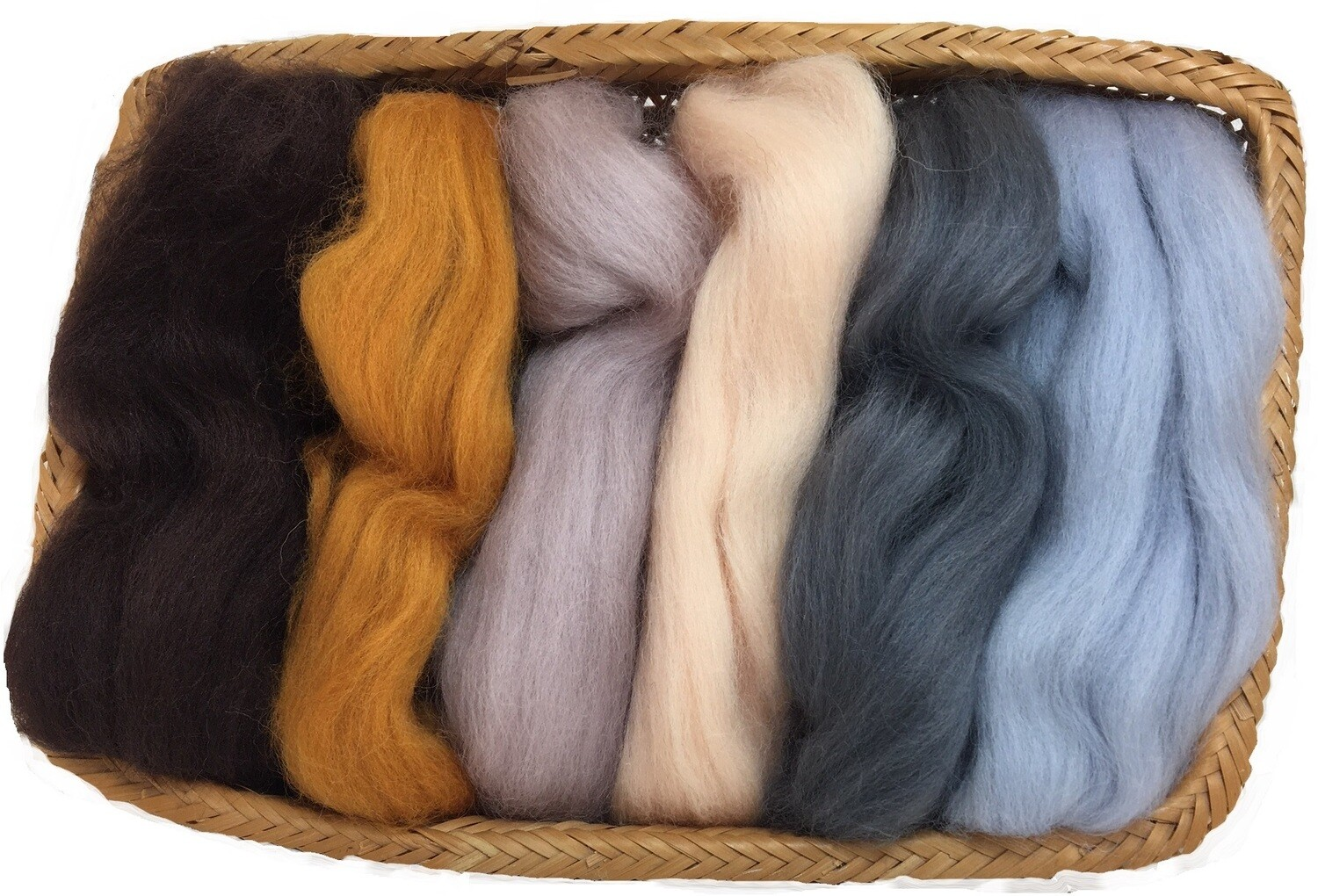 NZ Corriedale Wool Roving -- 6 Neutral/skin Colors